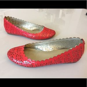 8 red patent leather flats Coach laser cut floral